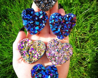 Titanium Aura Amethyst Hearts
