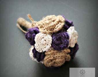 Purple, Twine, and Jute Crocheted Rose Hand-Tied Bouquet for Weddings or Decoration