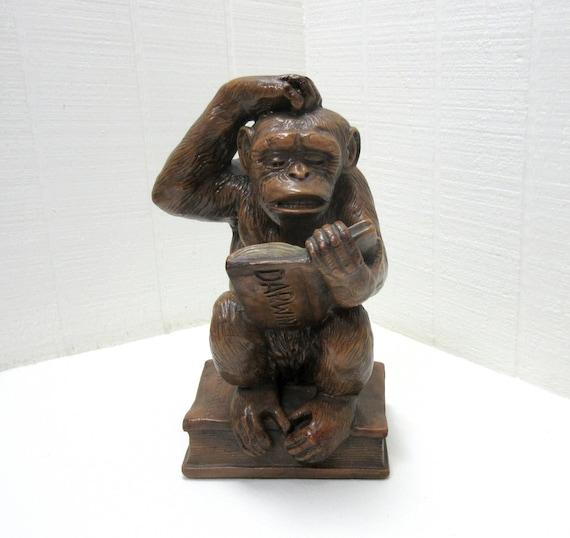 Vintage Progressive Art Chalkware Monkey Darwin 1967
