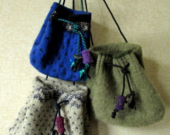 boho crossbody mini bag drawstring pouch festival bag hippie purse mori girl upcycled recycled blue or gray felted wool