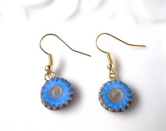 blue earrings, czech bead earrings, stad earrings, sky blue earrings, gift idea for her, gift idea for wife,