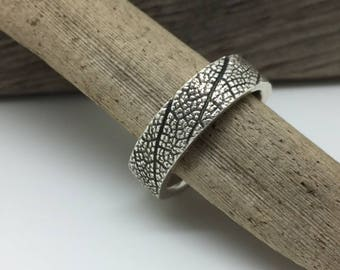 Sage Leaf textured Fine Silver Ring