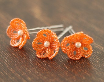 Tangerine Tango - U-Pins or Bobby Pins - French Beaded Flower