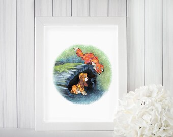 Children's Disney Fox And The Hound Floral Print, Nursery Art, Nursery Decor