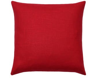 Red Linen Pillow Cover, Red Pillow Cover, Covington Solid Red Linen Cushion Cover, Solid Red Pillows, Crimson Red Linen Pillow Covers