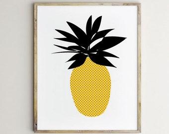 Kitchen art,pineapple art, kitchen print, pineapple print,kitchen modern print, fruit print,kitchen art print, black and yellow art