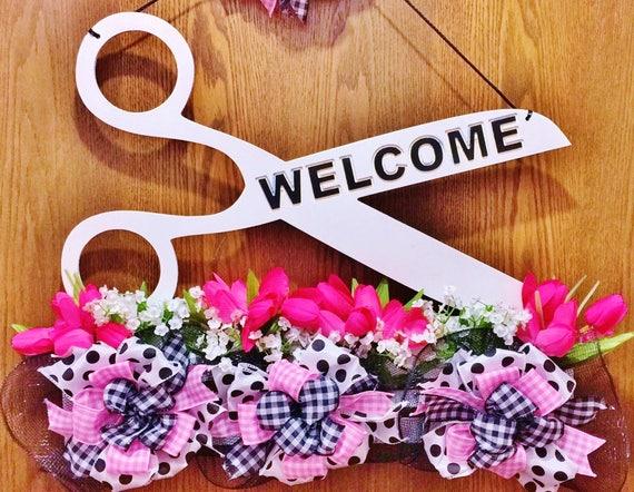 Black White Pink Scissors Salon Beautician Hair Stylist Barber Boutique - Welcome Door Wreath Hanger