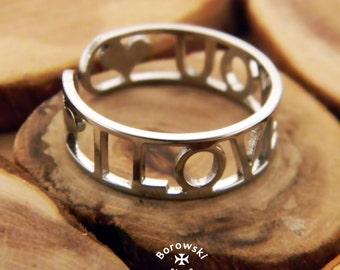 FREE SHIPPING I love you ring stainless steel