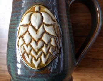 Hops mug, 20 ounce handmade ceramic mug for coffee or tea or beer, #374