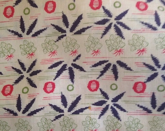 Vintage Printed Silk Broadcloth Leaves Berries
