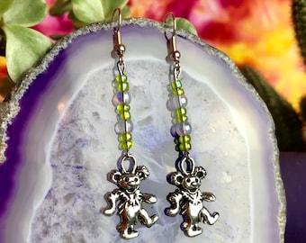 Grateful Dead Dancing Bear Silver Charm Beaded Earrings