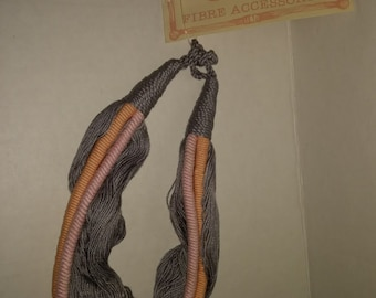 Vintage Vtg Gary Gale Fiber Jewelry Necklace Hand Made Strings Fibre pink grey peach New Philippines