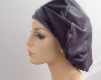 Gray Velvet Beret, French Beret, Large Beret, Slouchy Hat, Chemo Hat, Alopecia Hat, Boho
