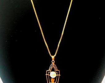Art Nouveau Art Deco 14k Gold Lavaliere Diamond and Pearl Filigree Pendant