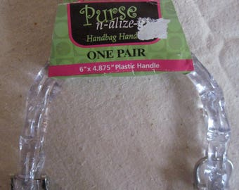 """Purse n-alize it Purse Handles Clear 6"""" X 4.875"""" Set Plastic Handles  NEW Free US Shipping"""