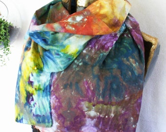 Peacock Blue Purple Gold Ice Dyed Cotton Voile Scarf 15x72 Hand Dyed Cotton Gauze Peacock slim2