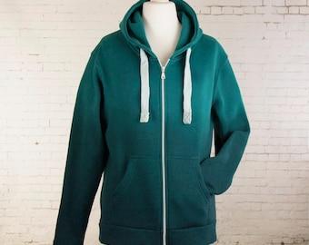Hoodie zip up for Women hand dip dyed ombre gradient hooded jacket hipster hoody green hooded top warm hoodie tie dyed hoodie zip up