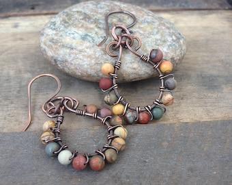 Boho Gem Stone and Copper Hoop Earrings - Hoop Earrings - Wire Wrapped Copper Earrings - Red Yellow Green Earrings - Autumn Earrings