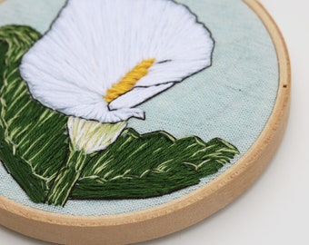 """Hand Embroidered Hoop Art Calla Lily 4"""""""