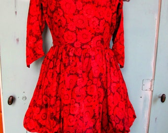Vintage 1950's Party Dress with Bubble and Pencil Skirt Red Daisy Pattern