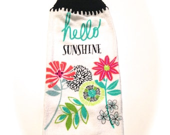 Hello Sunshine Hand Towel With Black Crocheted Top