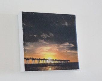 Pier Sunset Fridge Magnet