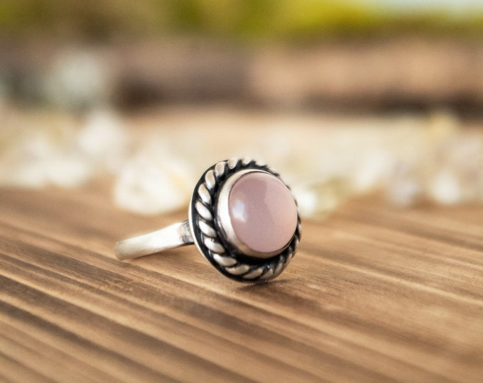 Classic Ring | Sterling Silver and Pink Chalcedony | Size 6.75