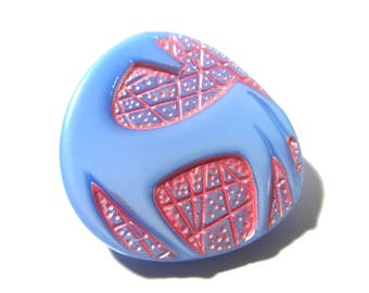 Czech HORSE Button Art Deco Style Horse VINTAGE Czech Glass Button One (1) Blue Czech Glass Mod Horse Vintage Button Jewelry Supply (Y314)