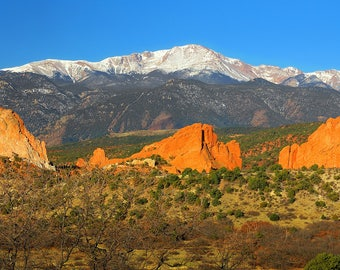 CANVAS Pike's Peak and Garden of the Gods - Panoramic Photographic Giclee Print - mountain scenic landscape