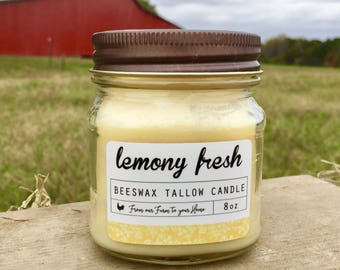 Candle - Lemony Fresh Scented Beeswax Tallow Candle (8 oz Mason Jar Candle, Natural Candle, Beeswax Candle, Tallow Candle)