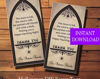 Halloween Favor Tags, Halloween Party Tags, Halloween Trick or Treat Tags, Treat Bag Tags, Printable, Instant Download,  Diy