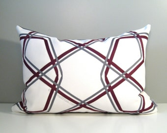SALE - Decorative Plum & Grey Pillow Cover, Modern Outdoor Pillow Cover, Purple White Gray, Geometric Sunbrella Cushion Cover, Mazizmuse