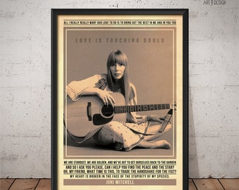 Joni Mitchell Poster - Quote Retro Music Poster - Music Print, Wall Art