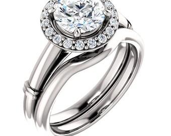 1.25 ct 7mm Round  Forever Brilliant Moissanite Solid 14K White Gold  Halo  Engagement  Ring Set - ST233288