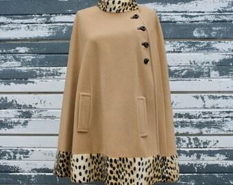 Vintage Wool Cape With Leopard Trim, Camel Color Pancho, Mid Century Mad Men Retro Fashion