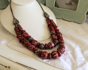Vintage Chunky Carved Red Bead and Silvertone Metal Separators Double Strand Necklace