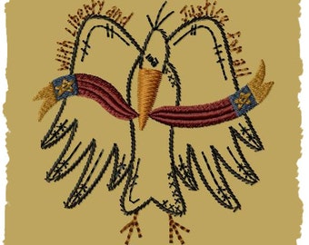 Primitive Machine Embroidery Design-Crow LIberty--(4x4)-INSTANT DOWNLOAD