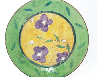 Yellow and green Floral themed dinner plate - earthenware, handbuilt food safe plate made by Kaitlyn Brennan/Brennan Pottery