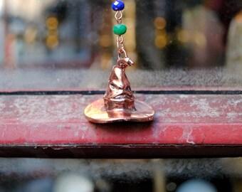 Colorful Hat Necklace -- Wizard Jewelry -- Fandom Fashion -- Handmade Jewelry
