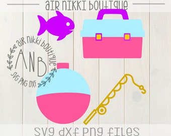 Fishing Pack, Bobber, Fish, Fishing pole, Tackle box, Fishing Birthday, layered tackle box and bobber, SVG, PNG, DXF files, Girl