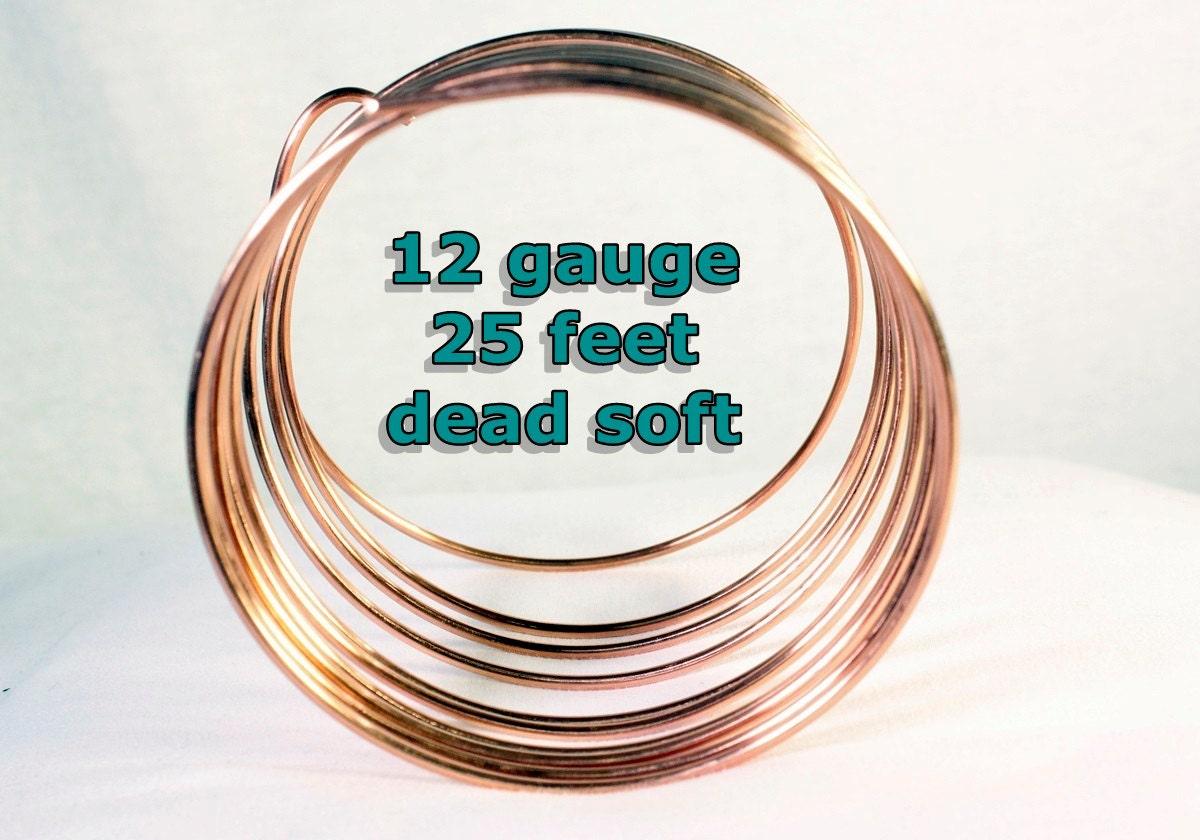 12 gauge Round Dead Soft Copper Craft Wire 25 foot spool