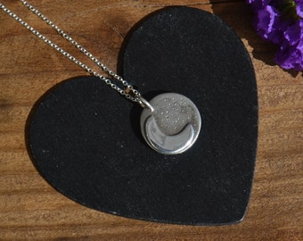 silver crescent moon necklace, crescent moon pendant, handmade fine and sterling silver necklace, moon and stars