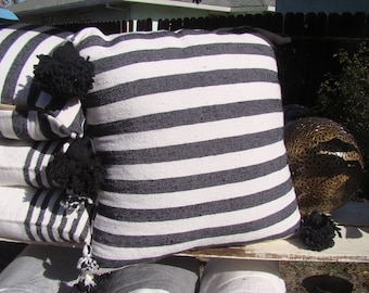 Moroccan Pom Pom Pillows, set of 2, filled, black and white