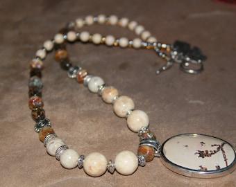 Dendrite Pendant and Picture Jasper Necklace