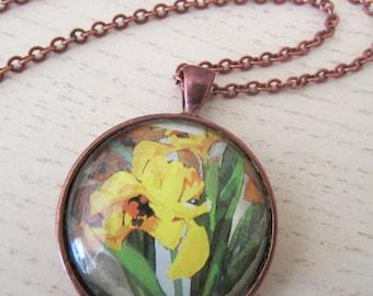 Yellow Iris Locket necklace