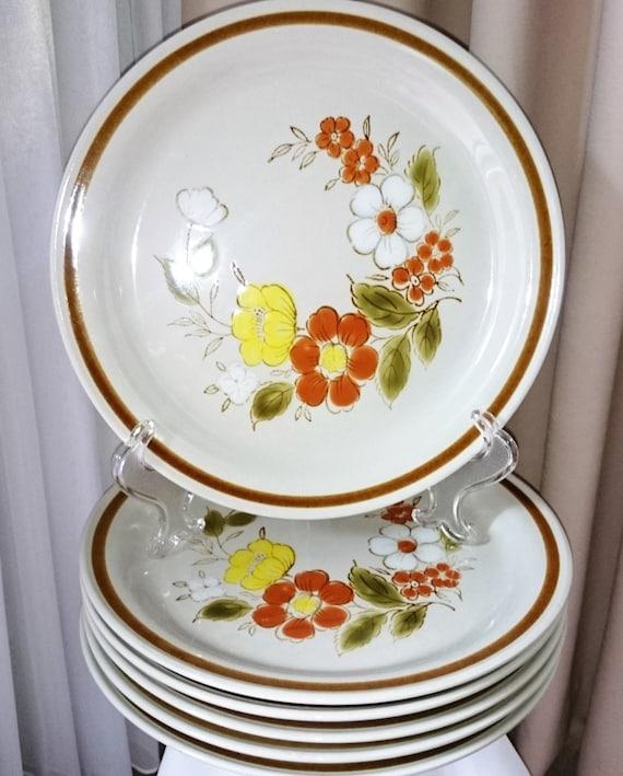 & Stoneware Dinner Plates Mountain Wood Collection Trellis