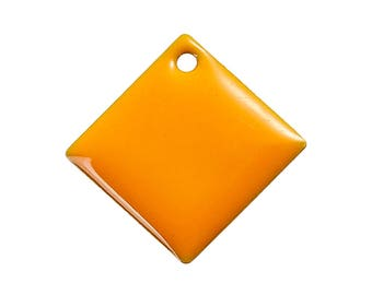 Lot 5 sequins glazed square Orange 24 mm - creating jewelry.