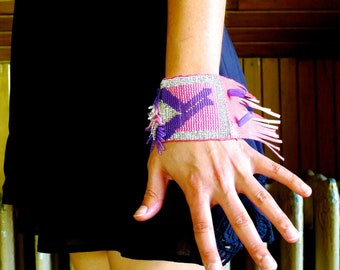 Pink and Purple Sparkle Bead Woven Bracelet Cuff with Hot Pink Leather - Parallel Universes - No. 25