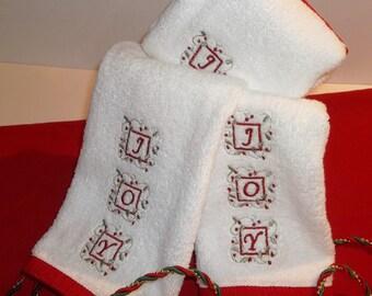 JOY Christmas Embroidered Finger Tip Towel Guest Powder Room Gift JOY Christmas Towel