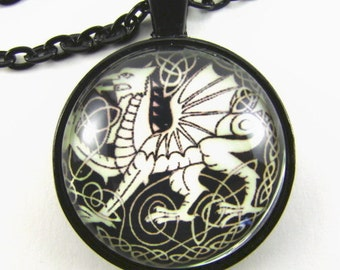 Men's CELTIC DRAGON Necklace -- Y Ddraig Goch the Red Welsh Dragon,  Celtic art necklace,  Gift for him